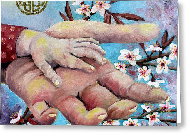 Hands Of Love Greeting Card by Renee Thompson
