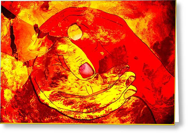 Original Art Photographs Greeting Cards - Hands on Fire Greeting Card by Sharon Yanai