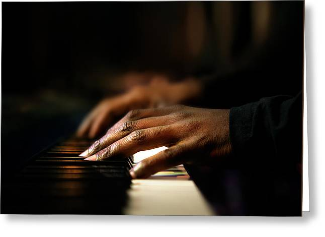 Keyboard Photographs Greeting Cards - Hands playing piano close-up Greeting Card by Johan Swanepoel