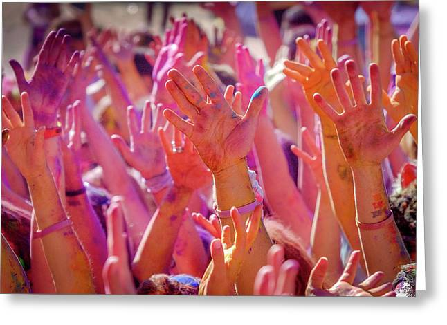 Hands Up Greeting Card by Okan YILMAZ