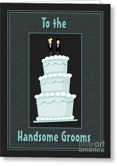 Wife Greeting Cards - Handsome Grooms Cake Greeting Card by JH Designs