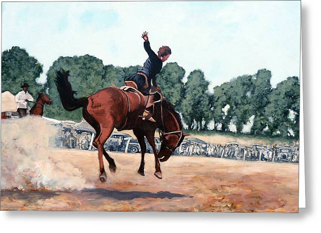 Bucking Bronco Greeting Cards - Hang on Hastings Greeting Card by Tom Roderick