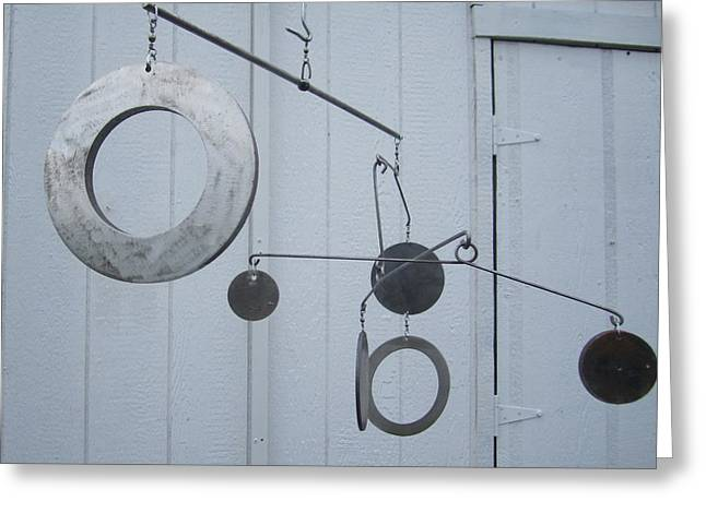 Urban Sculptures Greeting Cards - Hangin Mobile Kinetic Sculpture Greeting Card by Robert Blackwell