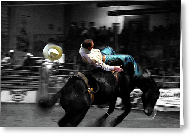 Bucking Bronco Greeting Cards - Hangin On Greeting Card by Al Bourassa