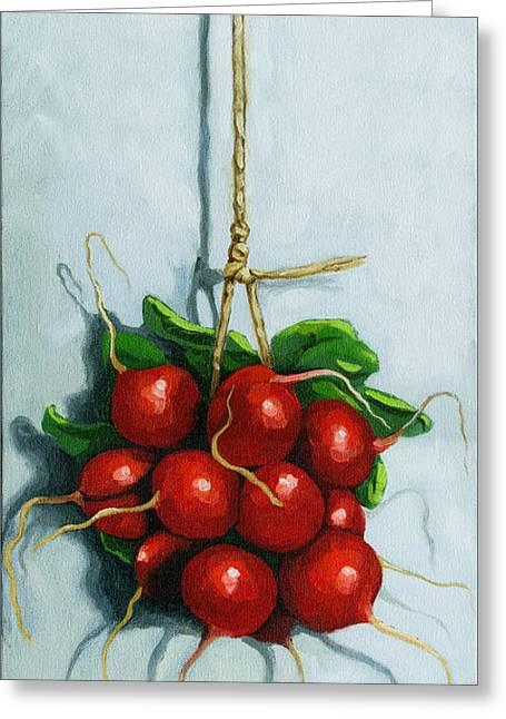 Red Radish Greeting Cards - Hanging Around - radishes still life painting Greeting Card by Linda Apple