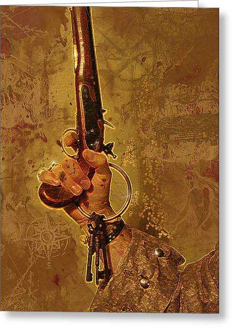 Pirates Greeting Cards - Hanging By The Mast Greeting Card by James Deaton Store