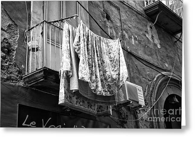 Old Street Greeting Cards - Hanging from the Balcony Greeting Card by John Rizzuto