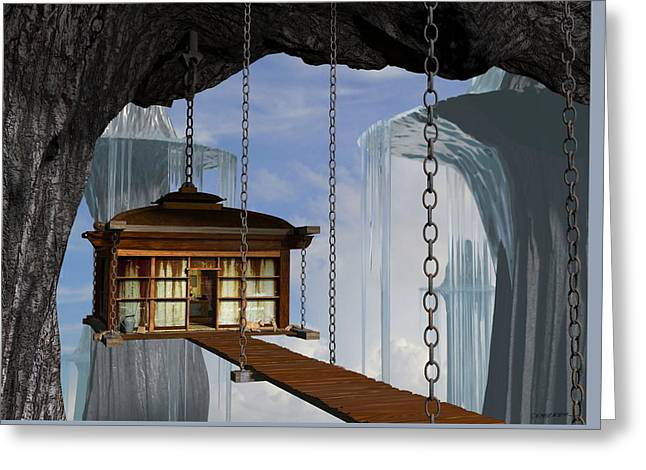 Dwelling Digital Greeting Cards - Hanging House Greeting Card by Cynthia Decker