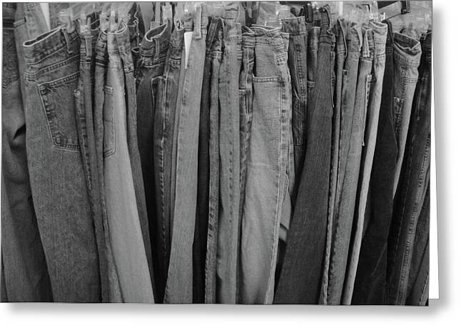 Black And White Reliefs Greeting Cards - Hanging Jeans Greeting Card by WaLdEmAr BoRrErO