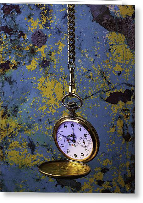 Golds Greeting Cards - Hanging Watch Greeting Card by Garry Gay