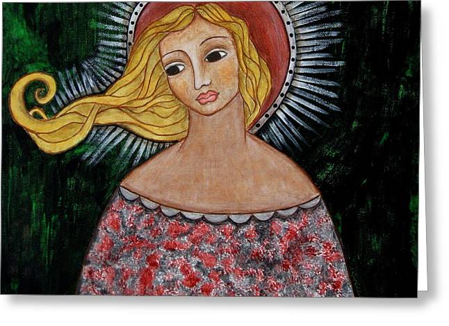 Devotional Art Paintings Greeting Cards - Haniel Greeting Card by Rain Ririn