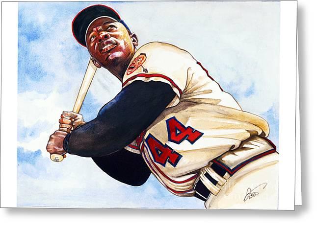 Baseball Art Drawings Greeting Cards - Hank Aaron Greeting Card by Dave Olsen