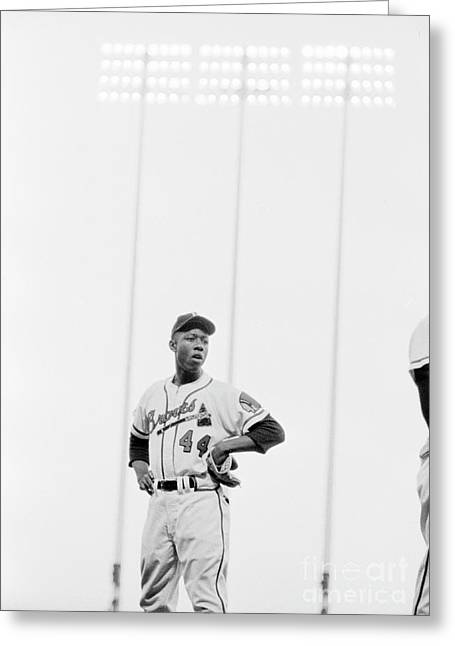 Hank Aaron On The Field, 1958 Greeting Card by The Harrington Collection