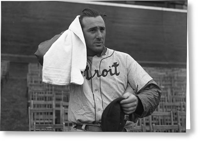 Hank Greenberg Cooling Off After Workout Greeting Card by OleTime Photos