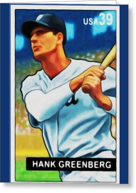 Baseball Uniform Paintings Greeting Cards - Hank Greenberg Greeting Card by Lanjee Chee