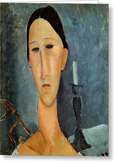 Modigliani; Amedeo (1884-1920) Greeting Cards - Hanka Zborowska with a Candlestick Greeting Card by Amedeo Modigliani