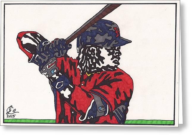 Baseball Art Greeting Cards - Hanley Ramirez Greeting Card by Jeremiah Colley