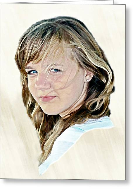 Hannah Portrait Greeting Card by Randy Steele