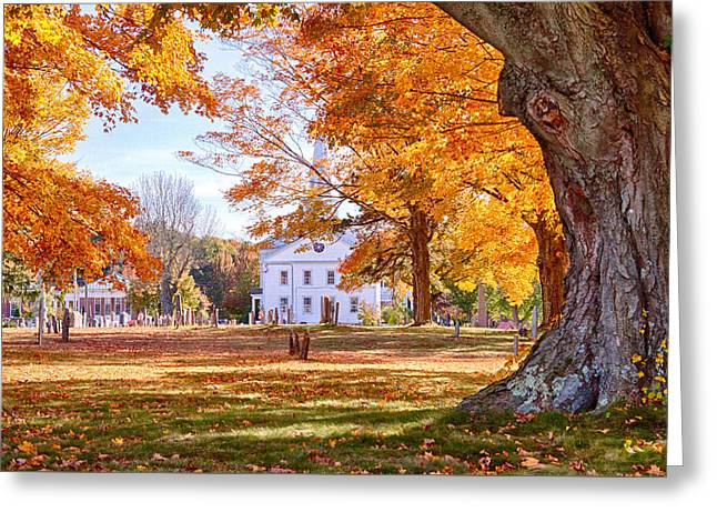 Fall Colors Greeting Cards - Hanover Cemetery fall foliage Greeting Card by Jeff Folger