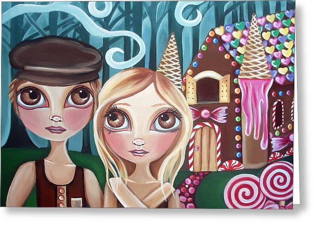 Colourful Surrealist Greeting Cards - Hansel and Gretel Greeting Card by Jaz Higgins