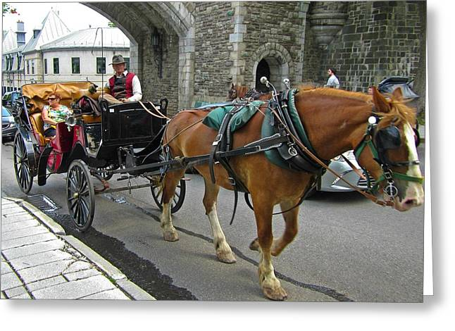 Hansom Cab Greeting Cards - Hansom Cab in Old Town Greeting Card by John Malone