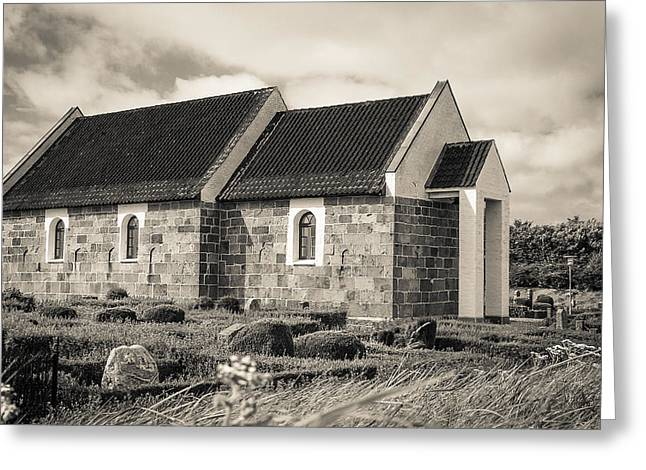 Hansted Kirke Bw Greeting Card by Eric Sloan