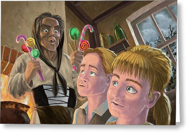 Little Boy Digital Greeting Cards - Hanzel and Gretel in witches kitchen Greeting Card by Martin Davey