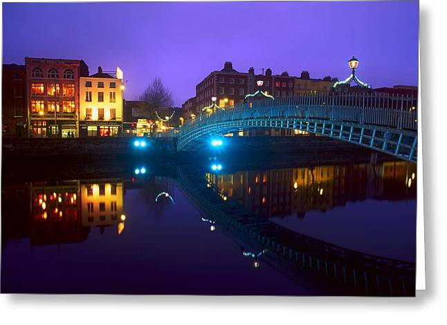 Reflections In River Greeting Cards - Hapenny Bridge, Dublin, Ireland Greeting Card by The Irish Image Collection
