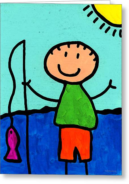 Whimsical Mixed Media Greeting Cards - Happi Arte 2 - Boy Fish Art Greeting Card by Sharon Cummings