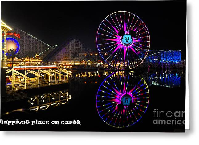 Paradise Pier Greeting Cards - Happiest Place on Earth Greeting Card by Peter Dang
