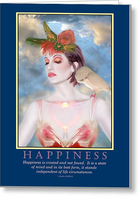 Happiness Quotes Greeting Cards - Happiness 1 Greeting Card by Jaeda DeWalt