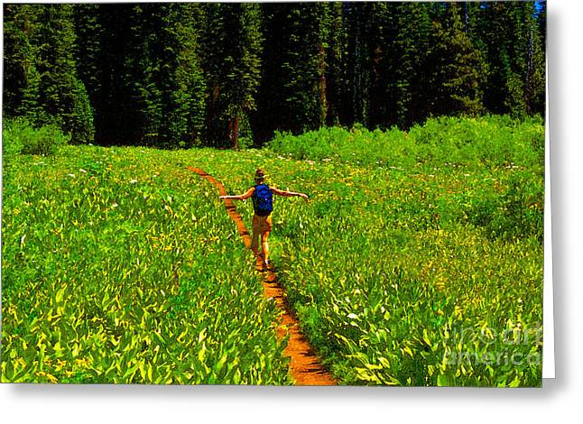 Hiking Digital Greeting Cards - Happiness is a trail Greeting Card by David Lee Thompson