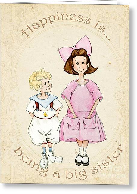 Big Sister Greeting Cards - Happiness is being a big sister Greeting Card by Cindy Garber Iverson
