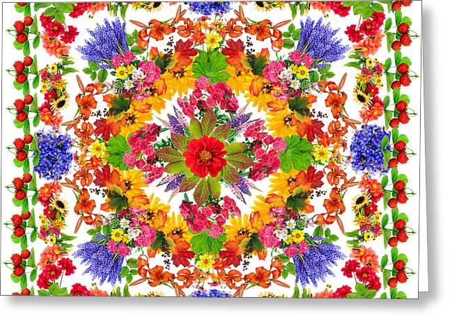 Flower Design Greeting Cards - Happiness lotus mandala Greeting Card by Aleksandr Volkov