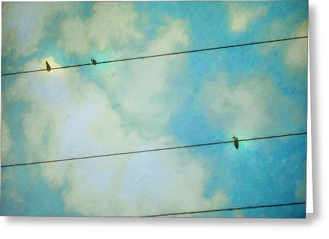 Powerline Greeting Cards - Happiness Greeting Card by Priska Wettstein