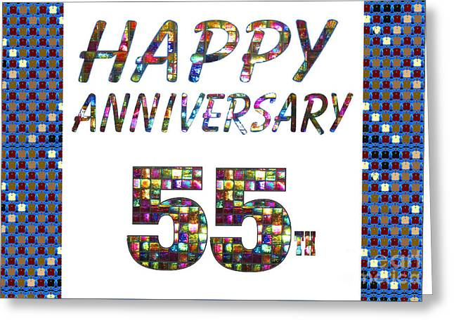 Special Occasion Greeting Cards - Happy 55 55th Anniversary Celebrations design on Greeting Cards t-shirts pillows curtains  Greeting Card by Navin Joshi