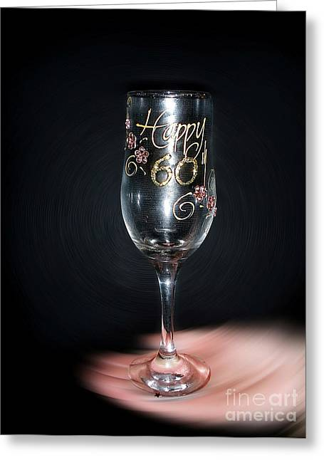 Champagne Glasses Greeting Cards - Happy 60th Birthday Greeting Card by Kaye Menner