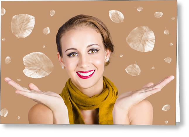 Happy Autumn Woman With Spread Hands Greeting Card by Jorgo Photography - Wall Art Gallery