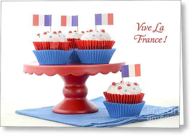 Juillet Greeting Cards - Happy Bastille Day Party Cupcakes Greeting Card by Milleflore Images