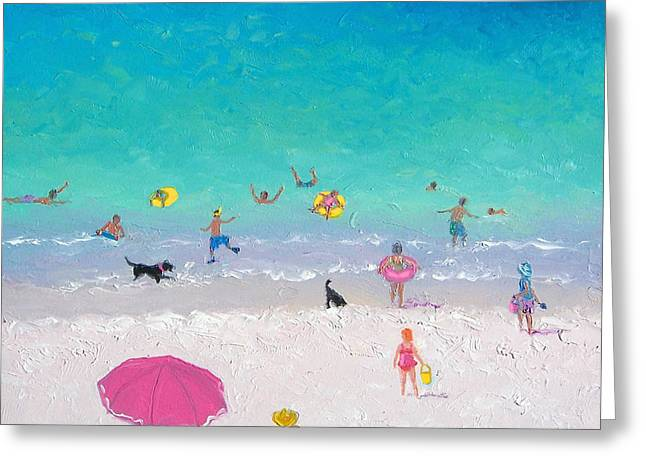 Lovers Art On Print Greeting Cards - Happy Beach Days Greeting Card by Jan Matson