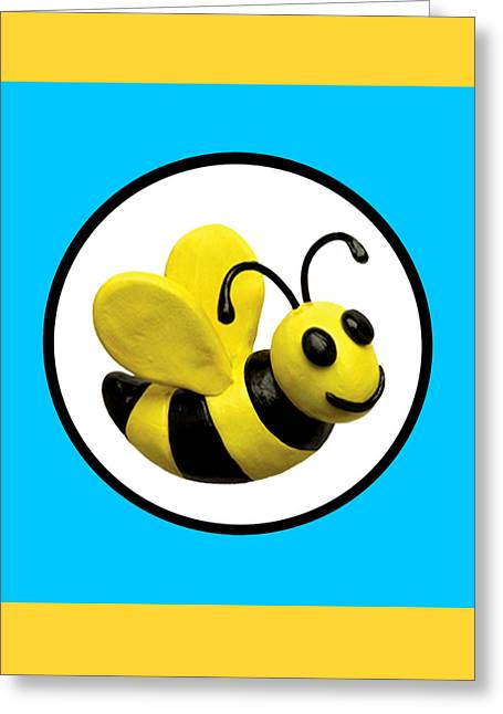 Book Cover Art Greeting Cards - Happy Bee Greeting Card by Amy Vangsgard