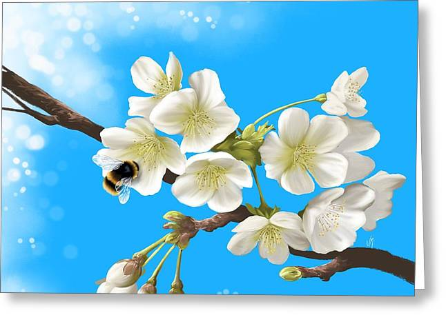 Bees Greeting Cards - Happy bee Greeting Card by Veronica Minozzi