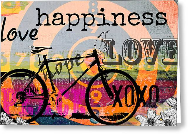 Shower Curtain Greeting Cards - BOHO Happy Bicycle Love Greeting Card by ArtyZen Studios - ArtyZen Home