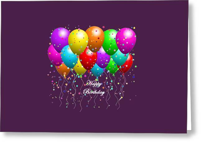 Happy Birthday Balloons Greeting Card by Debra  Miller