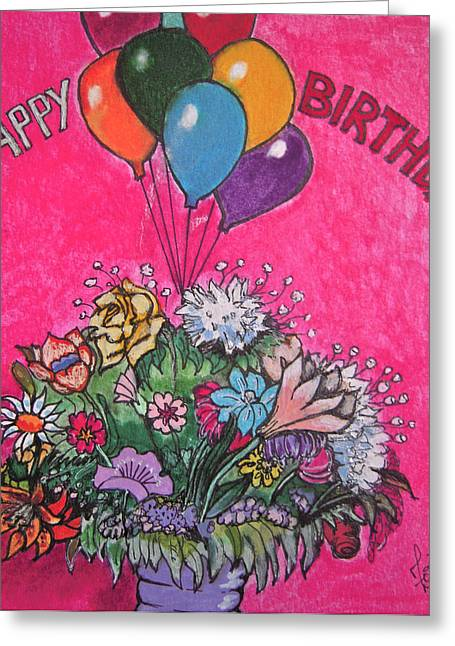 Balloon Flower Drawings Greeting Cards - Happy Birthday Boquet Greeting Card by Zoe Vigil
