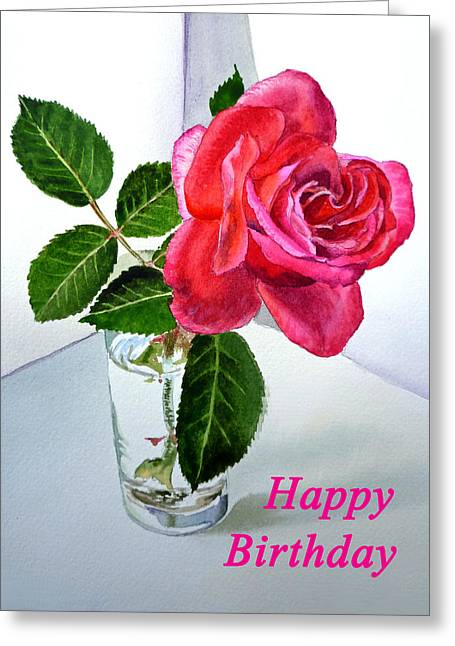 Thank You Greeting Cards - Happy Birthday Card Rose  Greeting Card by Irina Sztukowski