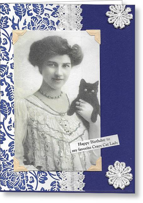 Best Friend Greeting Cards - Happy Birthday Cat Lady Greeting Card by Lin Collette