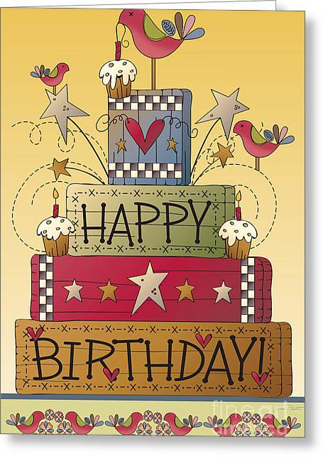 Sign. Cupcakes Greeting Cards - Happy Birthday-JP2838 Greeting Card by Jean Plout