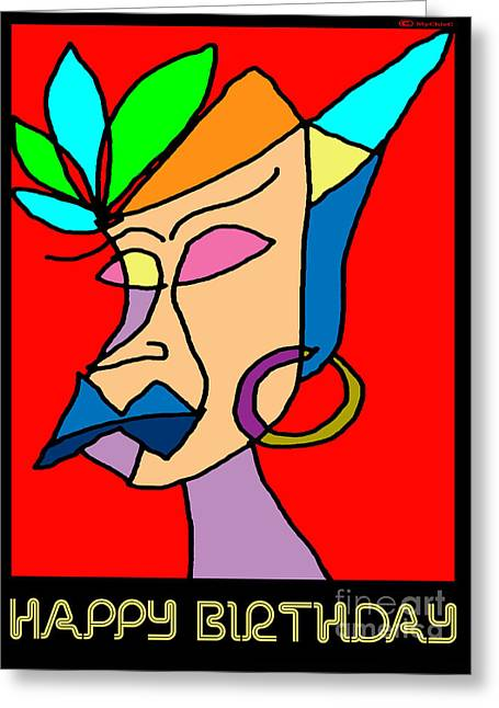 Daughter Gift Greeting Cards - Happy Birthday Woman Greeting Card by MyChicC Art
