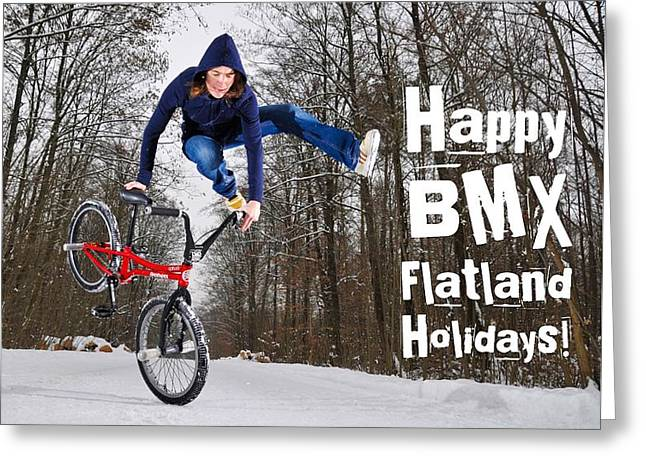 Happy Bmx Flatland Holidays Greeting Card Greeting Card by Matthias Hauser